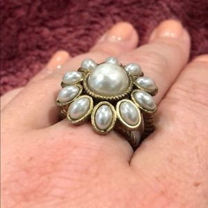 Pearl flower cocktail ring